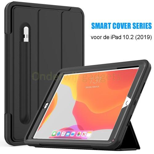 iPad 10.2 (2019) schokbestendige case met screenprotector en Trifold standaard zwart