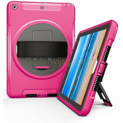 360 graden draaibare, rugged, iPad 9.7 (2017 & 2018) / Air 2 / Pro 9.7 case met screenprotector roze