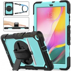 Samsung Galaxy Tab A 10.1 (2019) case met screenprotector, handriem en schouderriem voor Horeca en Bouw Lichtblauw