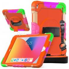 iPad 10.2 (2019 & 2020) case / hoes met screenprotector, handriem en schouderriem voor kinderen en scholen - Kleurrijk Oranje