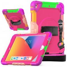 iPad 10.2 (2019 & 2020) case / hoes met screenprotector, handriem en schouderriem voor kinderen en scholen - Kleurrijk Roze