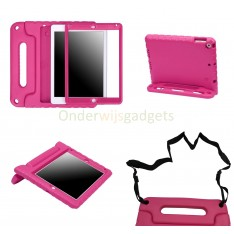 iPad 9.7 (2017) / (2018) / iPad Air 1 kinderhoes roze met ingebouwde screenprotector en schouderband
