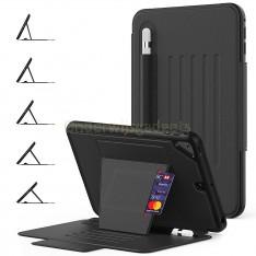 Dasaja – iPad 10.2 inch (2019 / 2020) Magnetische case hoes – 5 standen case – met kaarthouder –  3 lagen iPad bescherming - Zwart
